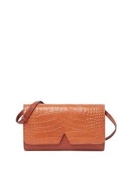 Sig V Mixed Media Croc Embossed Leather Multifunction Crossbody Wallet by Vince