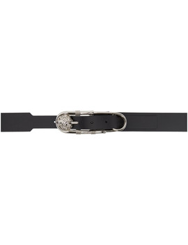 Black & Silver Oversized Safety Pin Belt by Versus