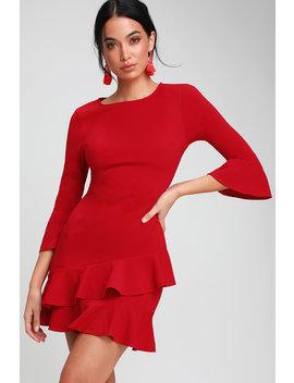 Sensational Statement Red Ruffled Bodycon Dress by Lulus