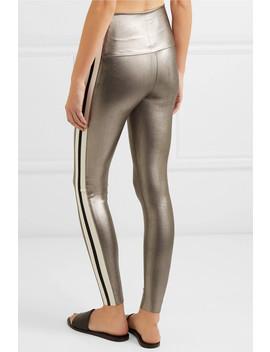 Striped Metallic Stretch Leggings by Norma Kamali