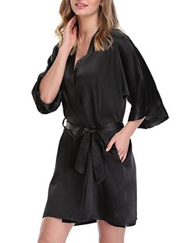 Expressbuynow Women's Satin Kimono Robe Short Dressing Gown Silk Bridesmaid Robe, Solid Color by Expressbuynow