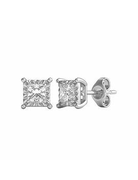 Helzberg Diamonds 10 K White Gold 3/8 Cttw Diamond (I J Color, I3 Clarity) Illusion Stud Earrings by Helzberg+Diamonds