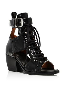 Women's Rylee Leather Open Toe Lace Up Booties by Chloé