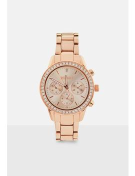 Rose Gold Tone Multi Dial Bracelet Watch by Missguided