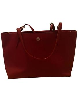 York Buckle Red Saffiano Leather Tote by Tory Burch