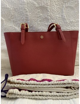 York Small Buckle Red Leather Tote by Tory Burch