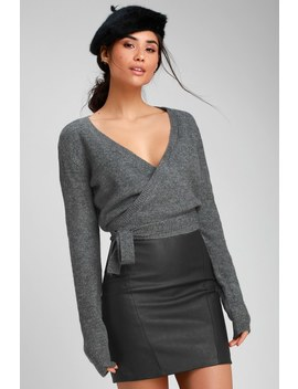 The Fuz Charcoal Grey Wrap Sweater Top by Rvca