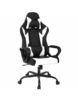 Best Massage Office Desk Gaming Chair High Back Computer Task Swivel Executive Racing Chair For Back Support With Lumbar Support Armrest Adjust Headrest (White) by Best Massage