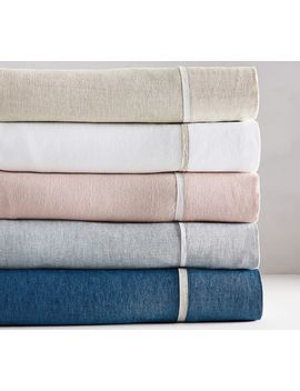 Belgian Flax Linen Contrast Flange Sheet Set   Soft Rose/White by Pottery Barn
