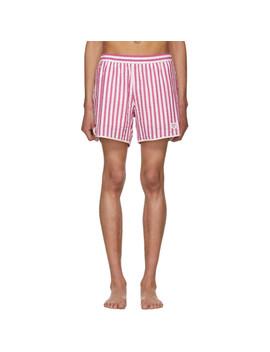 Red & White Stripe Seersucker Running Shorts by Noah Nyc