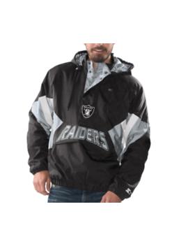 Oakland Raiders Starter Vintage Enforcer Hooded Half Zip Pullover Jacket by Starter