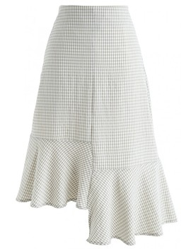 Sweet Gingham Frill Hem Pencil Skirt In Taupe by Chicwish