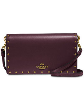 Border Rivets Slim Phone Crossbody Wallet In Refined Leather by Coach