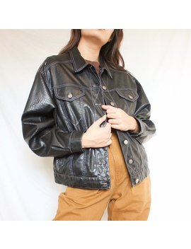 Vintage Black Faux Croco Leather Contrast Stitch Jacket by Etsy