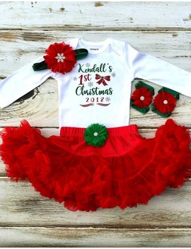 Personalized Christmas Outfit Girl | First Christmas Outfit Girl | 1st Christmas Tutu Outfit by Etsy
