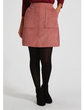 Cord Zip Back A Line Skirt by Matalan