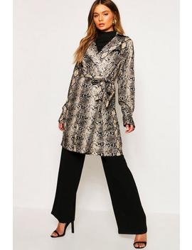 Snake Print Trench Coat by Boohoo