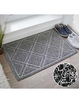 Brig Haus Large Indoor/Outdoor Doormat | 24 X 35 | Non Slip Heavy Duty Front Entrance Door Mat Rug, Outside Patio, Inside Entry Way, Catches Dirt Dust Snow & Mud   Black/White by Brig Haus