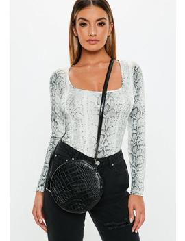 Black Round Croc Cross Body Bag by Missguided