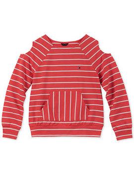 Big Girls Striped Cold Soulder Sweatshirt by Tommy Hilfiger