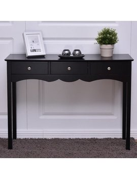 Costway Console Table Hall Table Side Table Desk Accent Table 3 Drawers Entryway Black by Costway