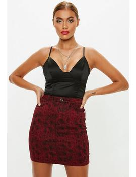 Red Denim Snake Print Super Stretch Skirt by Missguided