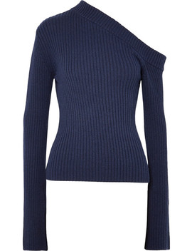Varese One Shoulder Asymmetric Ribbed Cotton Blend Top by Solace London