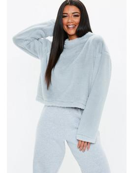Grey Faux Fur Crew Neck Sweatshirt by Missguided