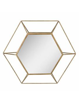 "Stonebriar Decorative Antique Gold 24"" Hexagon Metal Frame Hanging Wall Mirror With Mounting Brackets, Modern Geometric Decor For The Living Room, Bathroom, Bedroom, And Entryway by Stonebriar"