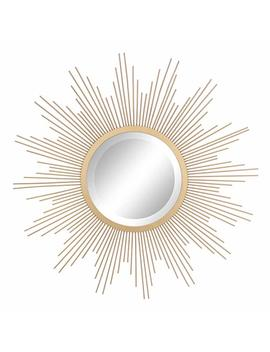"Stonebriar Round Decorative Antique Gold 24"" Metal Starburst Hanging Mirror For Wall, Modern Boho Decor For The Living Room, Bathroom, Bedroom, And Entryway by Stonebriar"