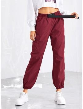Pocket Side Drawstring Waist Pants by Shein
