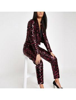Pink Leopard Print Sequin Blazer by River Island