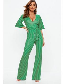 Green Stripe Plunge Kimono Stripe Sleeve Jumpsuit by Missguided