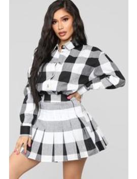 School Girl Feels Skirt Set   Black/White by Fashion Nova