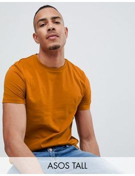 Asos Design Tall Organic T Shirt With Crew Neck In Brown by Asos Design