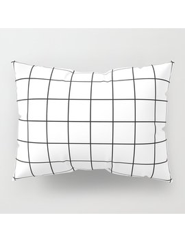 Grid Simple Line White Minimalist Pillow Sham by