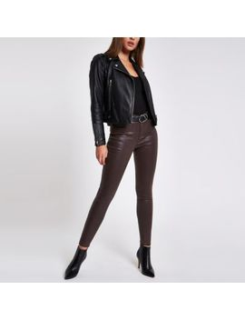 Burgundy Molly Coated Mid Rise Jeggings by River Island