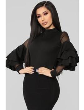 Ruffled Up Bodysuit   Black by Fashion Nova