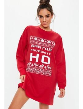 Red Santa Ho Sweater Dress by Missguided