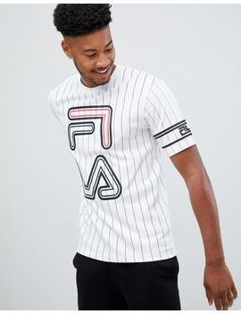 Fila Black Line Striped Declan T Shirt With Large Logo In White by Fila
