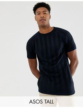 Asos Tall Knitted T Shirt In Navy Stripe by Asos