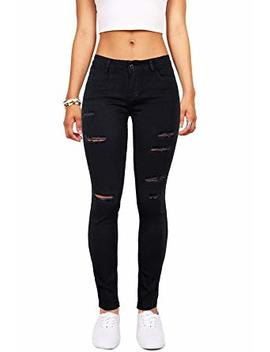 Tengfu Women's Juniors Mid Rise Distressed Slim Fit Stretchy Skinny Jeans Jegging by Tengfu