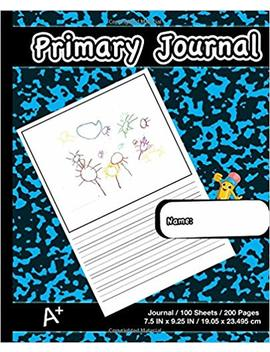Primary Journal: Modern Blue Marble,Composition Book, Draw And Write Journal, Unruled Top, .5 Inch Ruled Bottom Half, 100 Sheets, 7.5 In X 9.25 In, 19.05 X 23.495 Cm,Soft Durable Cover by Primary Journal