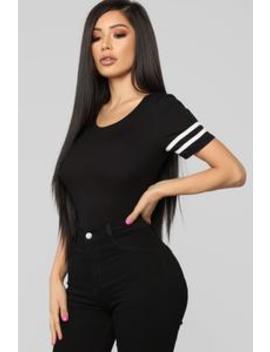 First Pitch Bodysuit   Black/White by Fashion Nova