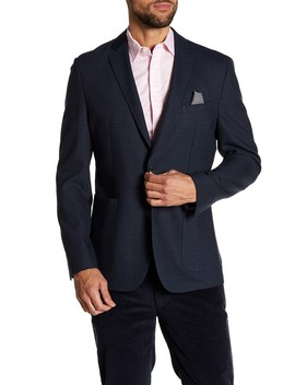Houndstooth Notch Collar Double Button Slim Fit Blazer by Vince Camuto