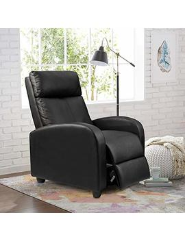 Homall Single Recliner Chair Padded Seat Black Pu Leather Living Room Sofa Recliner Modern Recliner Seat Home Theater Seating (Black) by Homall