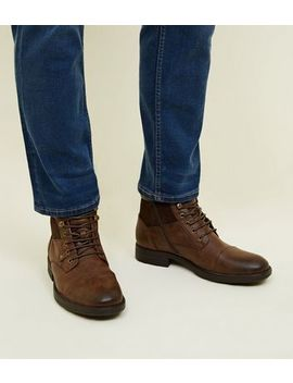 Dark Brown Military Lace Up Boots by New Look