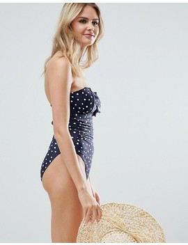 Figleaves Fuller Bust Spot Bandeau Tummy Control Swimsuit In Navy by Figleaves