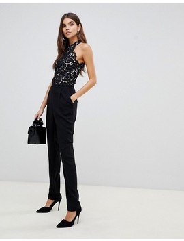 Morgan Lace High Neck Tailored Jumpsuit In Black by Morgan
