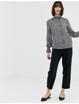 Warehouse Gathered Neck Blouse In Check by Warehouse